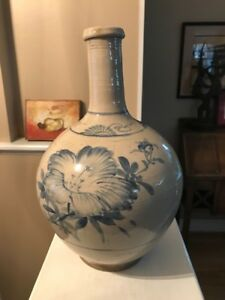 Antique 1800's Korean Blue & White porcelain or stoneware BOTTLE vase Asian Art