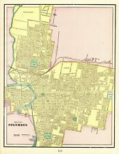 1898 Antique COLUMBUS OHIO Map Vintage Collectible Map of Columbus 7778