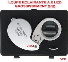LOUPE DE BIJOUTIER LED ECLAIRANTE X 40 + COFFRET + PILE - HORLOGER POINCON