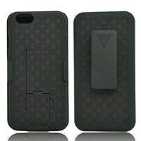 iPHONE 6 6S PLUS BLACK HARD SHELL ARMOR COVER COMBO CASE HOLSTER CLIP KICKSTAND