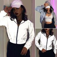 Womens Girls Hip Hop Reflective Zipper Hooded Windbreaker Crop Jacket Casual New