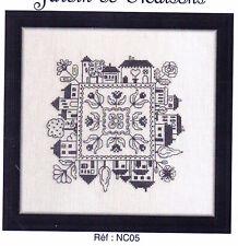 Jardin de Maisons - fun one colour cross stitch chart - Jardin Prive
