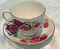 Vintage Queen Anne Bone China Teacup Tea Cup & Saucer Red Pink Roses