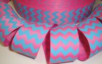 1.5 EASTER PINK TURQUOISE BLUE CHEVRON ZIG ZAG STRIPE GROSGRAIN RIBBON 4 BOW