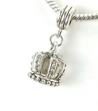 Hollow 3D Crown Dangle Large Hole Bead for European Charm Bracelet