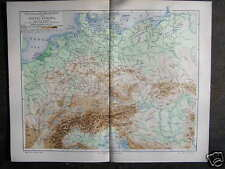Antique map middle europe europa flood height 1904