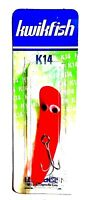 Vintage Luhr-Jensen Kwikfish K14 Fluorescent Red Fire Wiggling Plug Fishing Lure