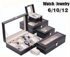 Leather Watch Jewelry Display Storage Holder Case 12 Grids Box Organizer Gift B1