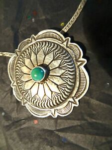 Vintage Western Sterling Silver & Turquoise Concho Pendant Necklace Cowgirl