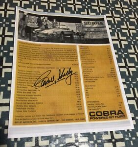 CARROLL SHELBY SIGNED 289 COBRA ROADSTER DEALER SALES SHEET RARE & COLLECTABLE!!