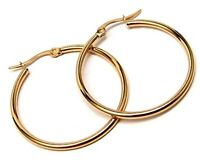 Yellow Gold PVD Hoop Earrings 1-1/4 Hypoallergenic Stainless Surgical Steel