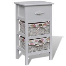 White Cabinet 1 Drawer 2 Baskets Wood Bathroom Storage Unit Basket Container