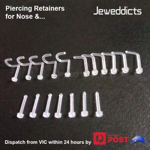 2-6PCS Piercing Retainer Nose Ear Lip Transparent Clear Flexible Body Jewellery