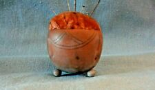 Unusual Antique Velvet topped Pottery? on round feet Hatpin Holder / Pin Cushion