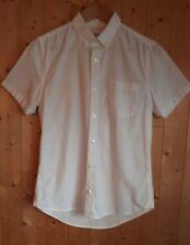 Men's boys Burton white shirt button down collar Oxford short sleeve school
