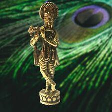Lord Krishna Flute Avatar of Vishnu Statue Brass Hindu God of Compassion & Love