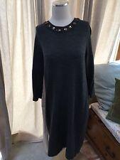 Boden Gray Sweater Dress Gem Neckline UK 16 Long US 12 Wool Blend Excellent