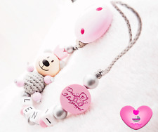 Schnullerkette mit Namen★ Teddy ★ Schutzengel ★ Baby Mädchen ♥ silber rosa