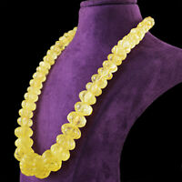 994.50 Cts Natural Yellow Citrine Round Shape Carved Untreated Beads Necklace