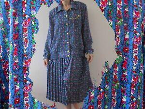 Vintage 80s Autumn Blue Floral Blouson Pleated Skirt Suit Small