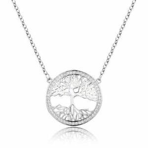 S925 Lebensbaum Anhänger Silber Baum des Lebens Damen Halskette Kristall Steine