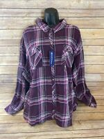 North Crest Long Sleeve Button Down Shirt Size 4X Womens Purple Plaid New NWT
