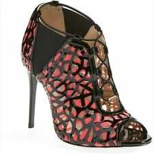 NIB Jimmy Choo designer Black Leather Peep-Toe Booties, boots shoes heels  $1575