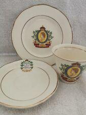 Queen Elizabeth II Art Deco Cup, Saucer, Side Plate By Thomas Hughes Of Longport