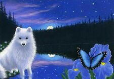 White fox butterfly iris flowers moon lake limited edition aceo print art