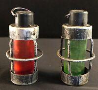 Red & Green, Railroad Lanterns,  Green Salt &  Red Pepper Shakers Vintage