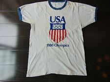 Vtg (1980) Usa Olympics Ringer T-Shirt. Lake Placid; Moscow. Tagged Large