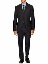 NEW Canali Mens Dark Navy Blue Wool 2PC Striped Two Button Wool Suit 40R 34