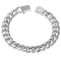 18K White Gold Filled Bracelet Men's Women's Link Wide 10mm Chain +Gift Pkg