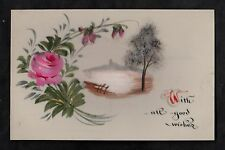 C1916 French plastic card - Rose & view of the country 'Good wishes'