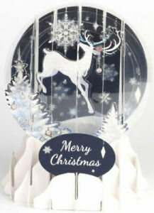 Reindeer Silhouette Snow Globe Pop Up Christmas Card by Up With Paper Brand New