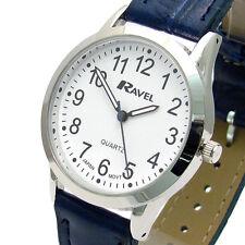 Ravel Mens Super-Clear Easy Read Quartz Watch Blue Strap White Face R0130.16.1