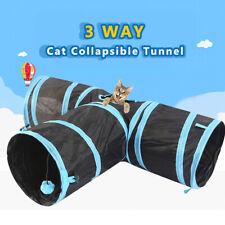 Collapsible Cat Tunnel Tube Interactive Indoor Cat Peek 3 Holes Kitten Toy