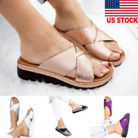Women Fashion Platform Comfy Sandals Ladies PU Leather Shoes Bunion Corrector JR