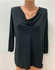 OSKA size 3 UK 14 / 16 Black Blouse Top Jersey LOGO