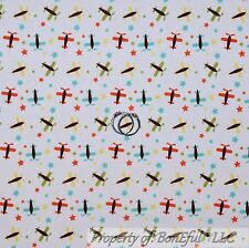 BonEful Fabric Cotton Quilt White Yellow Blue Green Airplane Star Baby Boy SCRAP