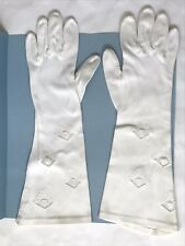 "Vintage Opera Gloves White Cotton 13 1/2"" Long Lace Inset Designs Size 5 or 6"