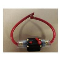 50 amp Resettable Fuse with 8 B&S Red Tycab Wire Dual Battery, Dc to Dc, Solar