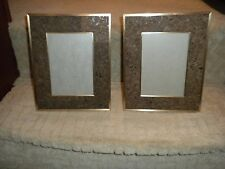 Pair of Vintage Mid Century Modern Real Cork & Gold Metal Picture Frames