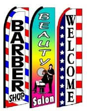 Barber Shop Beauty Salon Welcome King Size Swooper Flag Pack of 3