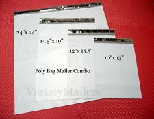 20 Poly Bag Envelope Mailer Variety Pack ~ 4 Size Assortment  ~ Self-Sealing