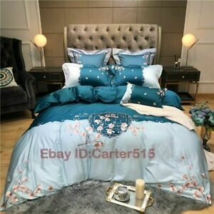 Bedding Set Embroidery 60S Egyptian Cotton Duvet Cover Bed Sheet Pillowcases