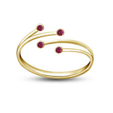 Adjustable Ring 14k Yellow Gold Finish Ladies Pink Sapphire Leaf Bypass Toe