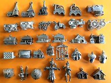 Vintage sterling silver charms COUNTRYSIDE THEME Mill tractor cottage anvil devi