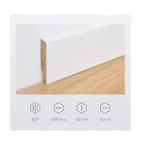 Battiscopa in MDF Altezza 6cm Bianco Rivestito Asta da 200cm