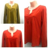 Ex WHITE STUFF Long Sleeve Cotton Jersey Top Ochre Or Orange Sizes 8-18